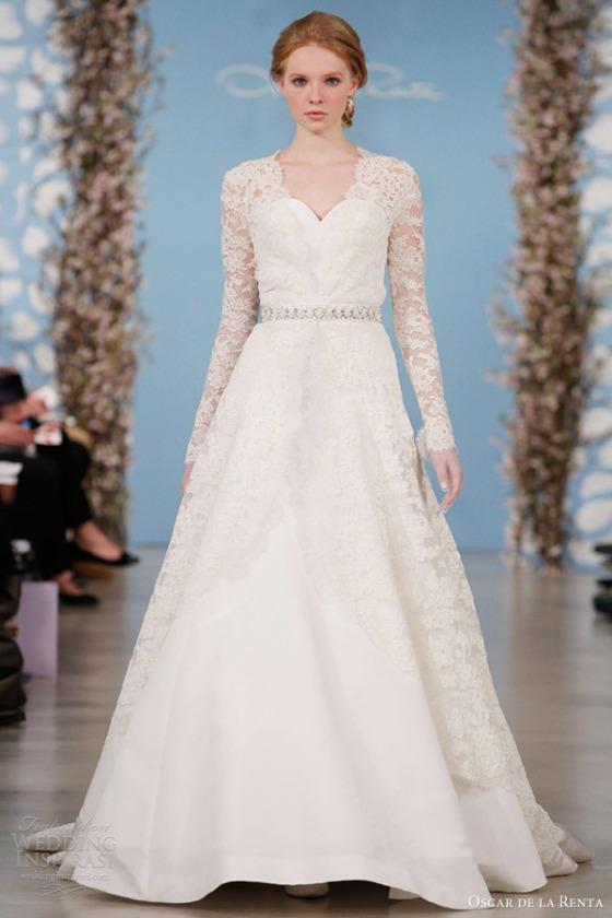 oscar-de-la-renta-bridal-2014-wedding-dress-long-sleeve-lace-overlay